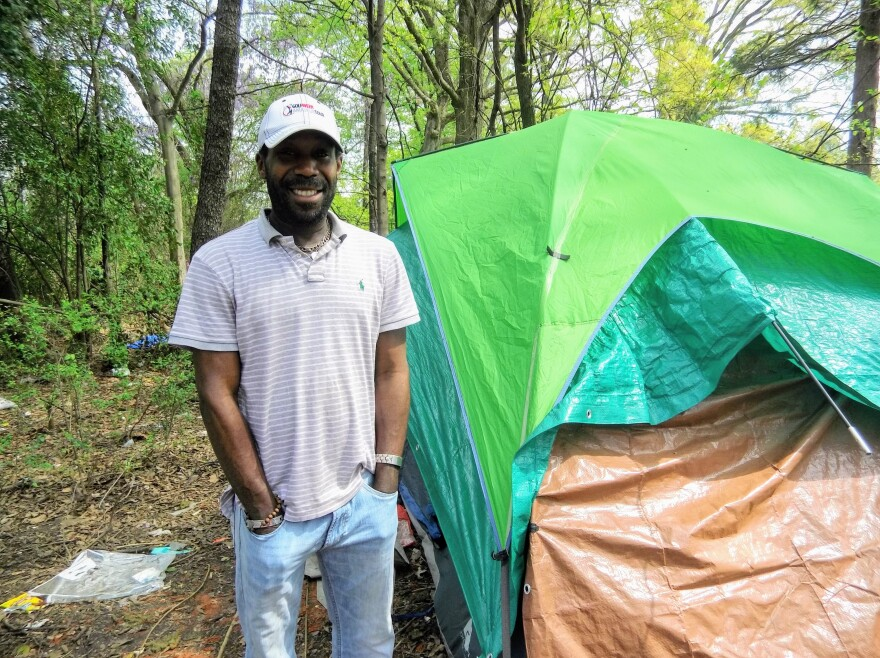 Franklin says he was given 24 hours to move from this encampment off 12th Street near uptown.