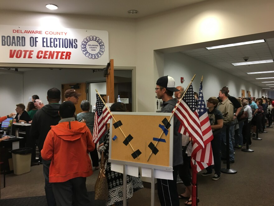 A photo of Delaware County voters waiting to cast ballots inside the Delaware County Early Voting Center.