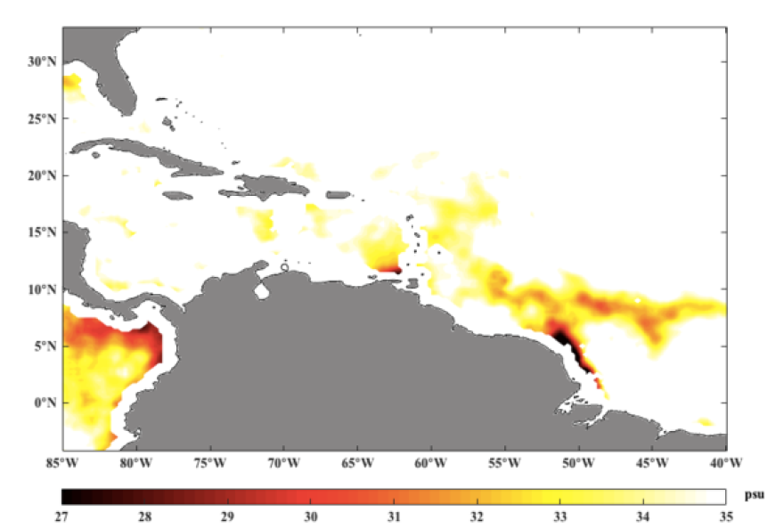 A computer data graphic from Rudzin's research shows an area of low salinity (darker colors) created by the fresh-water plume in the southeast Caribbean - a corridor that Atlantic hurricanes often pass through.