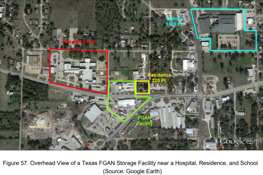 A figure from the Chemical Safety Board report on the West explosion shows an unidentified ammonium nitrate storage facility. TPR used other public records and Google Earth to determine that this site is Capps True Value Hardware and Ag Center, in Fairfield, Texas.