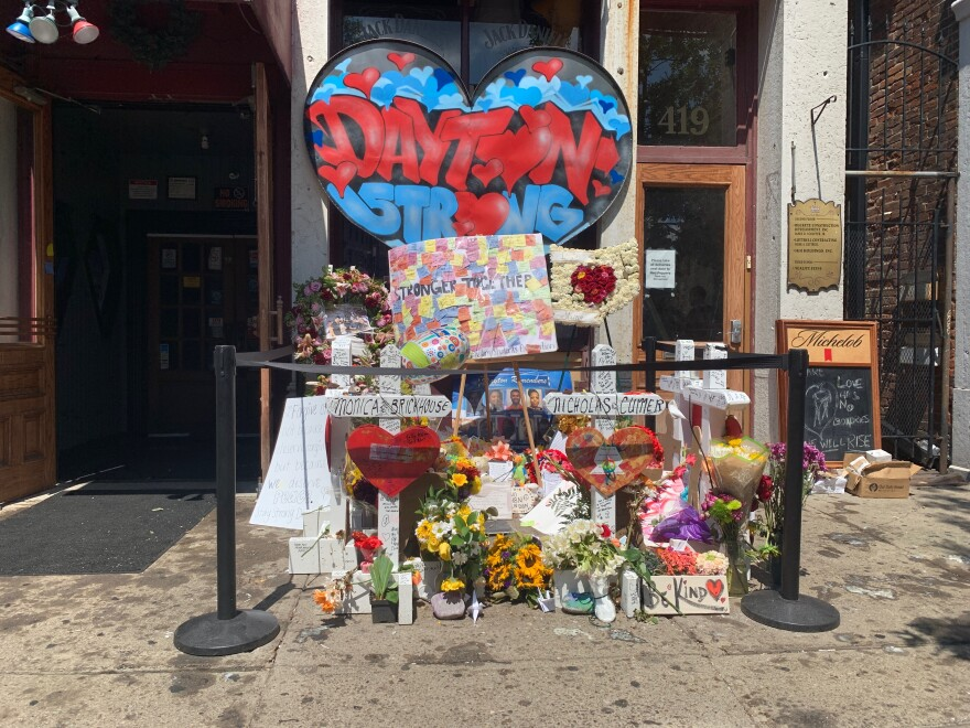 Dayton Strong memorial in front of Ned Peppers bar in the Oregon District.