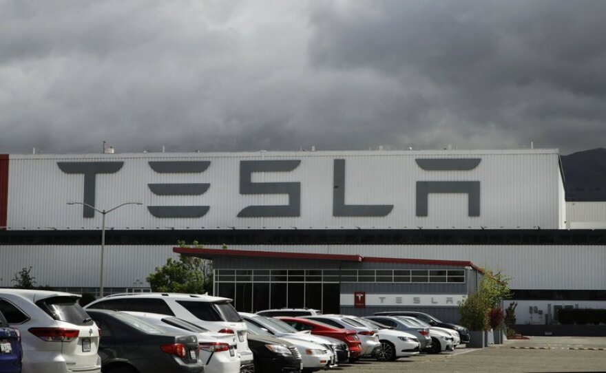 The outside of the Tesla plant in Fremont, California.