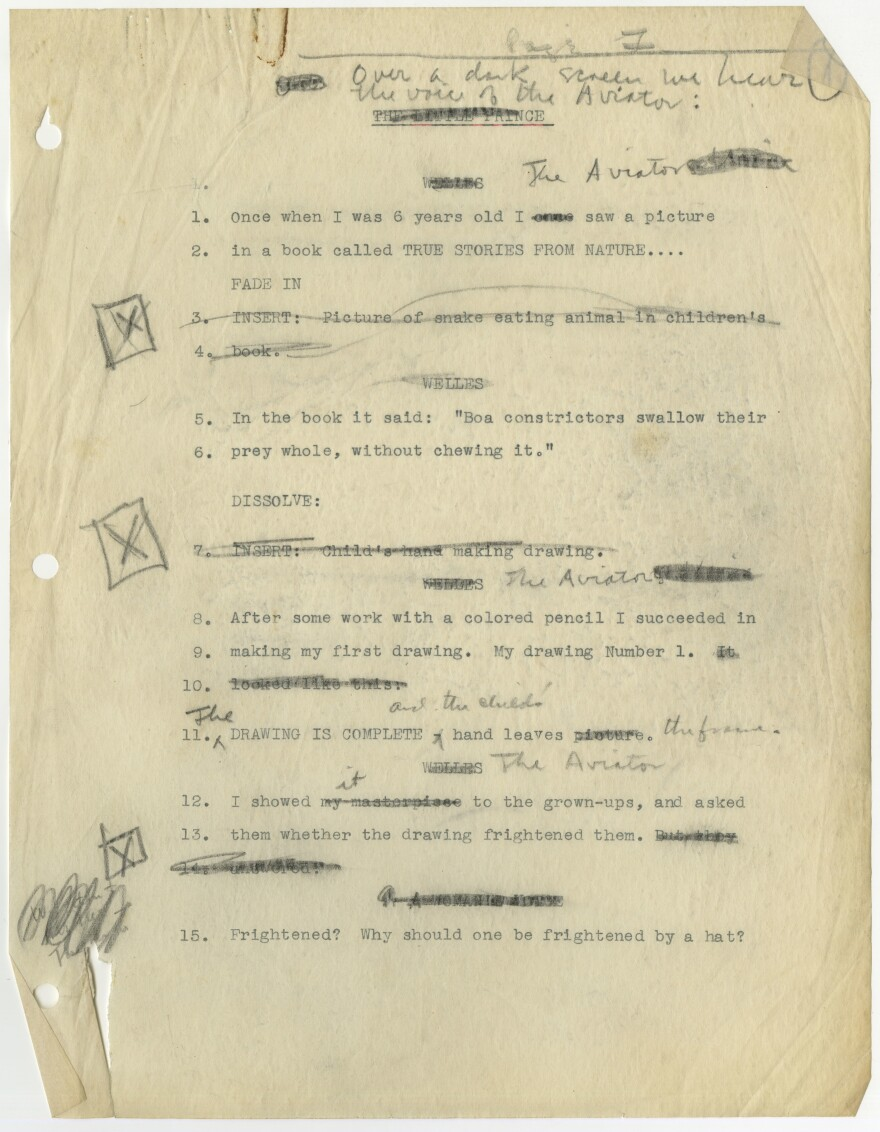 In 1943, Orson Welles tried to turn <em>The Little Prince</em> into a movie and even wrote a screenplay for it (pictured).