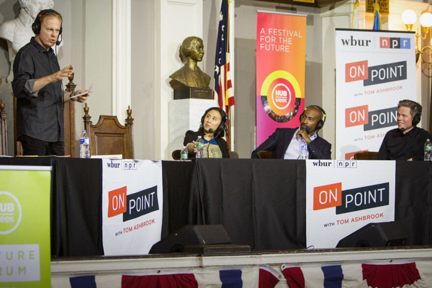 Celeste Ng, Van Jones and Josh Ritter at On Point Live in Boston with host Tom Ashbrook.