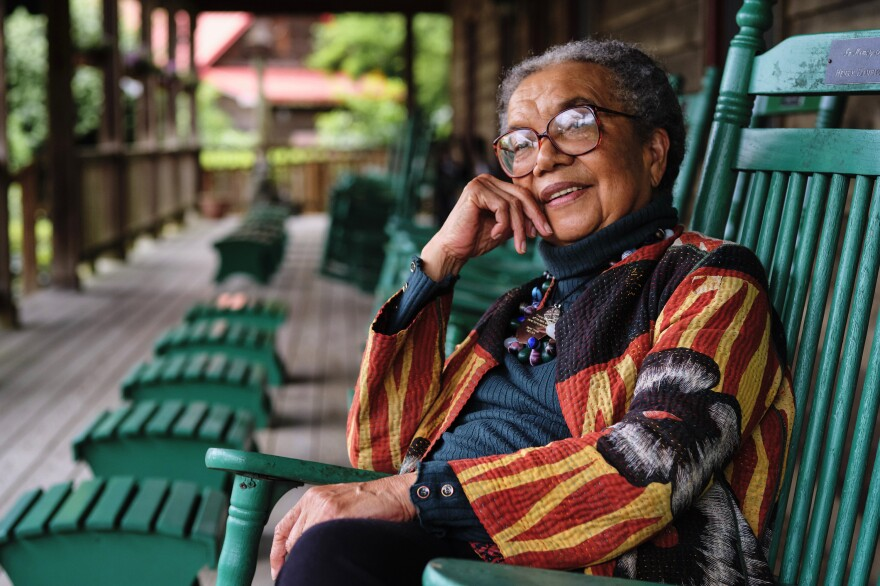 Children's Defense Fund founder Marian Wright Edelman sits on the porch at Haley Farm in Clinton, Tenn. The farm was once the property of author and civil rights activist Alex Haley.