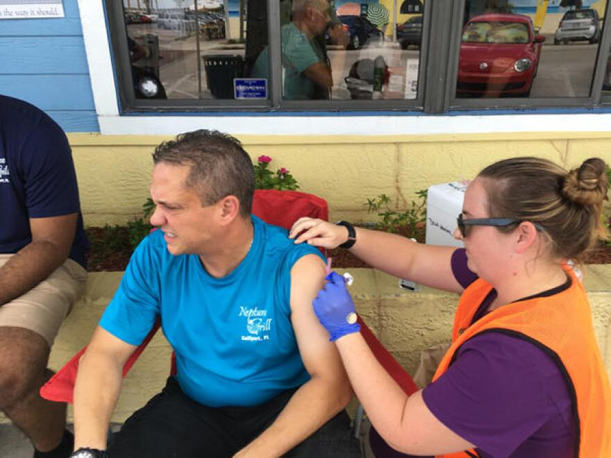 A nurse with the health department in Pinellas County delivered a hepatitis A shot to a restaurant employee in Gulfport this summer, part of the county's efforts to combat the virus.