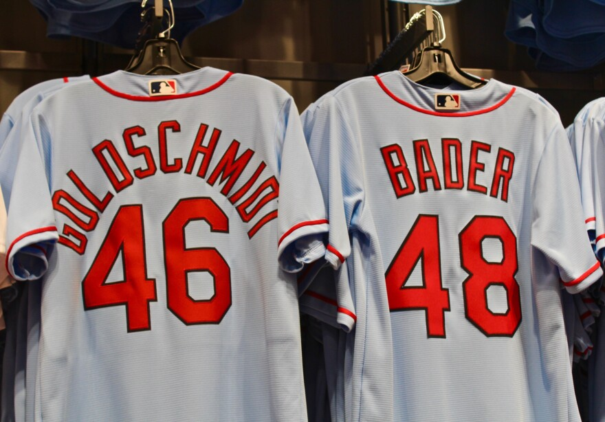 The jerseys of Paul Goldschmidt and Harrison Bader are top sellers this season at the team store in  Busch Stadium
