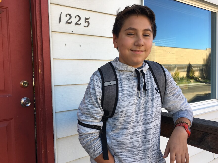 Caydden wakes up at 5:45 a.m., quickly brushes his teeth and smooths some gel in his hair, and then he dashes downstairs to ride 90 minutes in a school bus to get to class.