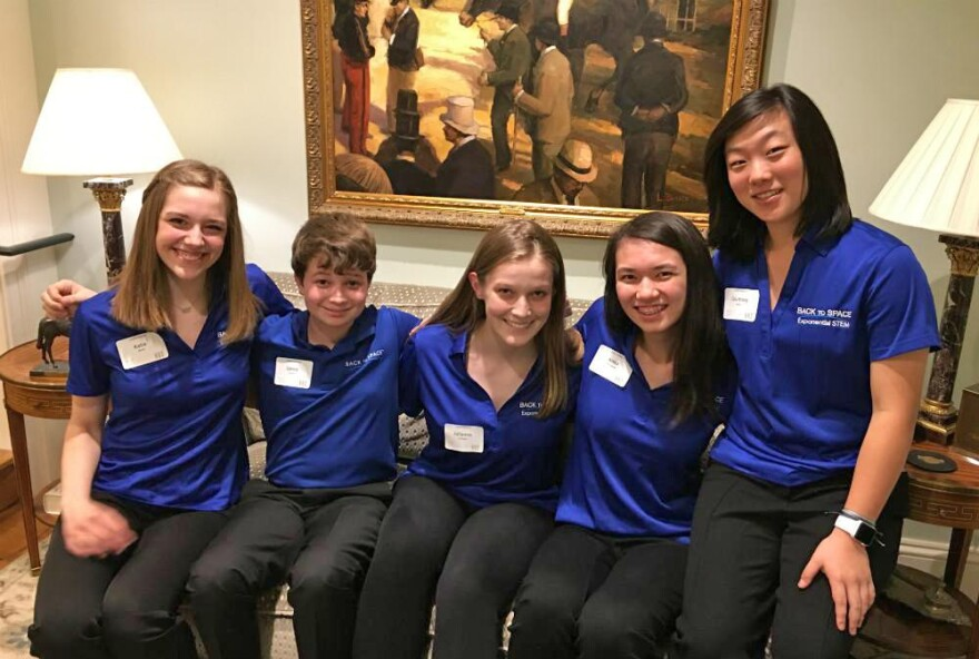 Five of the 25 Back to Space student Amabassadors (left to right): Katie Mulry, Lance Gorton, Julianna Lenington, Anna MacLennan and Courtney Kang