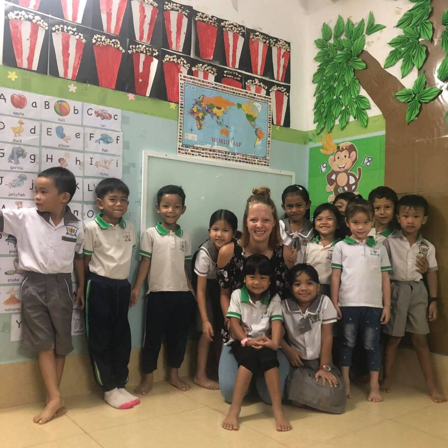 "Abbey Alexander teaches young kids in Cambodia. Her aunt says it's something she enjoys. ""She was definitely coming into her own. I have enjoyed watching her blossom into this just amazing young woman"""