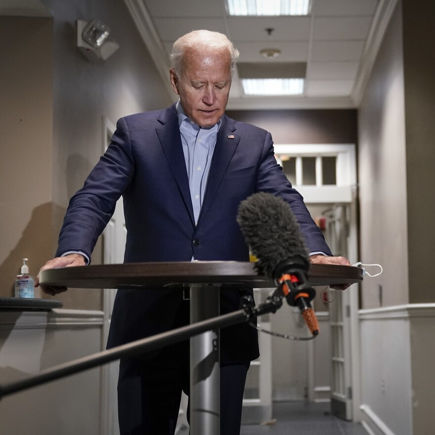 Democratic presidential nominee and former Vice President Joe Biden speaks to reporters about the passing of Supreme Court Justice Ruth Bader Ginsburg upon arrival at New Castle County Airport in Delaware.
