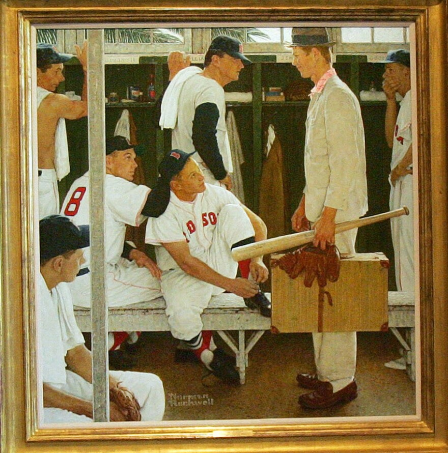 Norman Rockwell's <em>The Rookie,</em> seen here on display in 2005, sold at auction for $22.5 million Thursday.