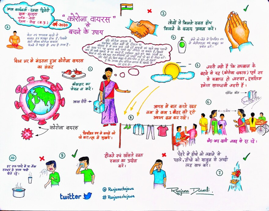 COVID-19 dos and don'ts. Dwivedi and her 21-year-old son, Rishikesh, drew this poster to help people in Gurguda understand the coronavirus.