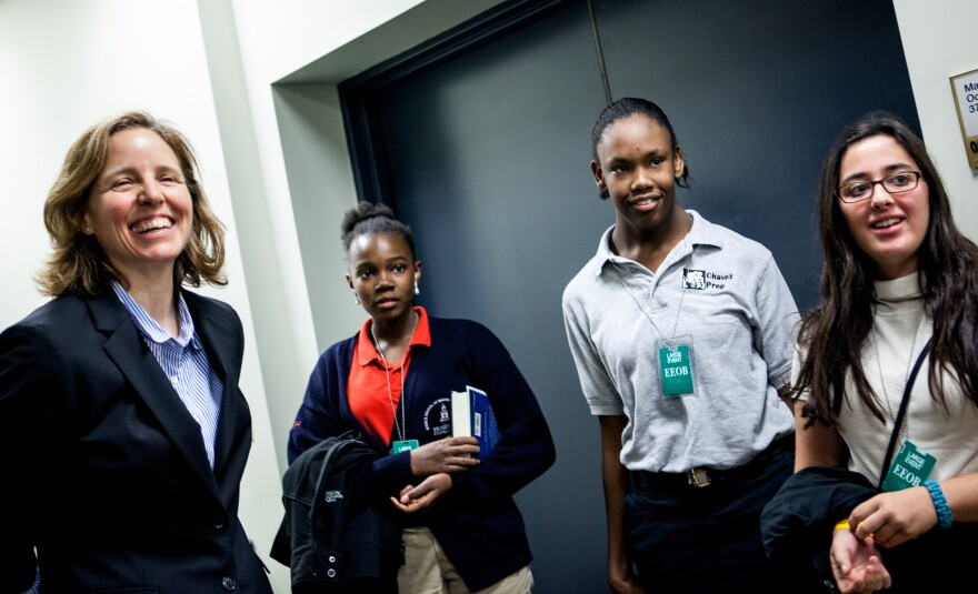 Megan Smith (left) is the new U.S. chief technology officer. We profiled her on <em>Morning Edition</em> this week.