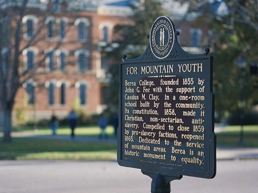 A historical sign on the Berea College campus in Kentucky.