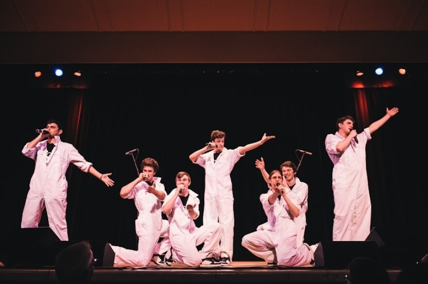 The Sons Of Pitches, from the University of Birmingham, perform at Saturday night's ICCA finals.