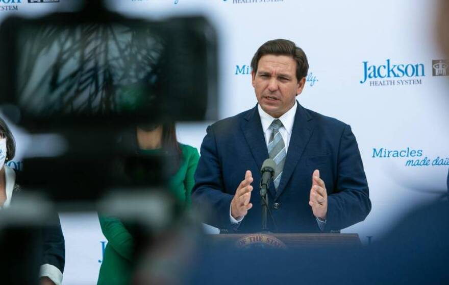Gov. Ron DeSantis speaking at a press conference in Miami on Jan. 4, 2021.