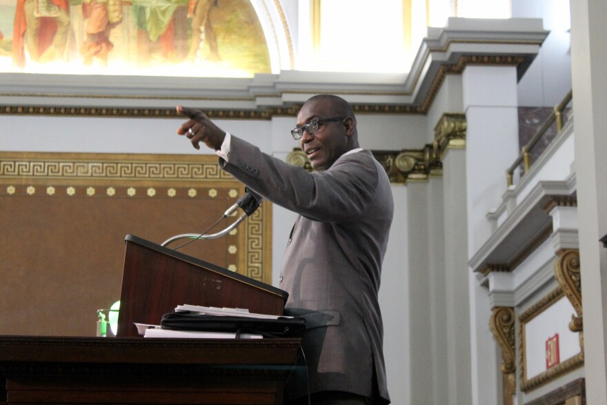 Board of Aldermen President Lewis Reed says he is undecided on how to vote on as-yet-unreleased plan to use city funds to pay for a proposed stadium.