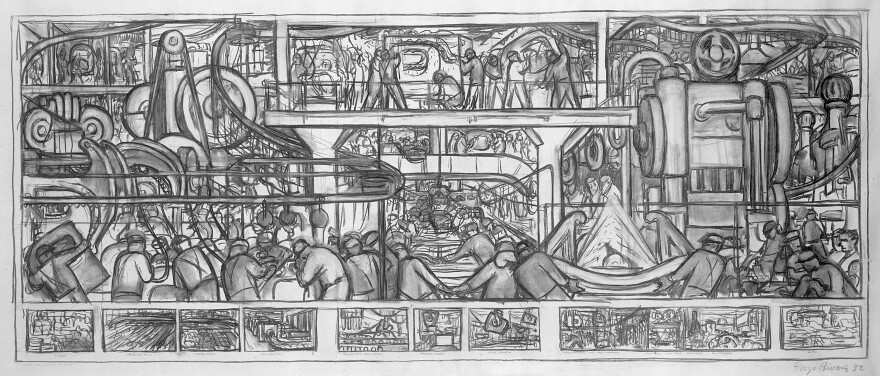 """<em>The Assembly of an Automobile</em>, by Diego Rivera, 1932, charcoal on paper. <a href=""""http://media.npr.org/assets/img/2015/03/16/image-278the-assembly-of-an-automobile---diego-rivera_custom.jpg"""">Click here for a larger view.</a>"""