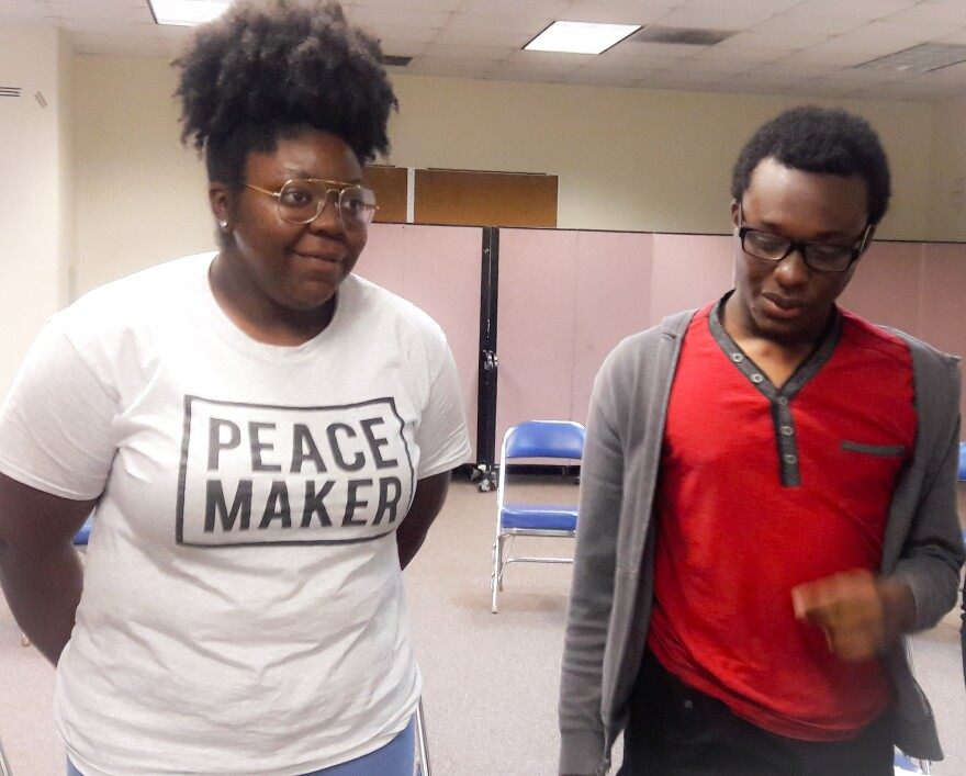 Shatony Rivers, left, joined a group of high school students who live in neighborhoods impacted by gun violence to organize.