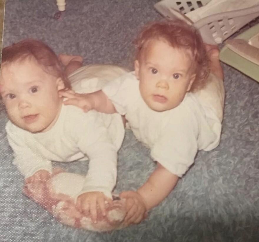 Jennifer Carrieri (L) was born two minutes after her twin, Jody LeCornu (R).