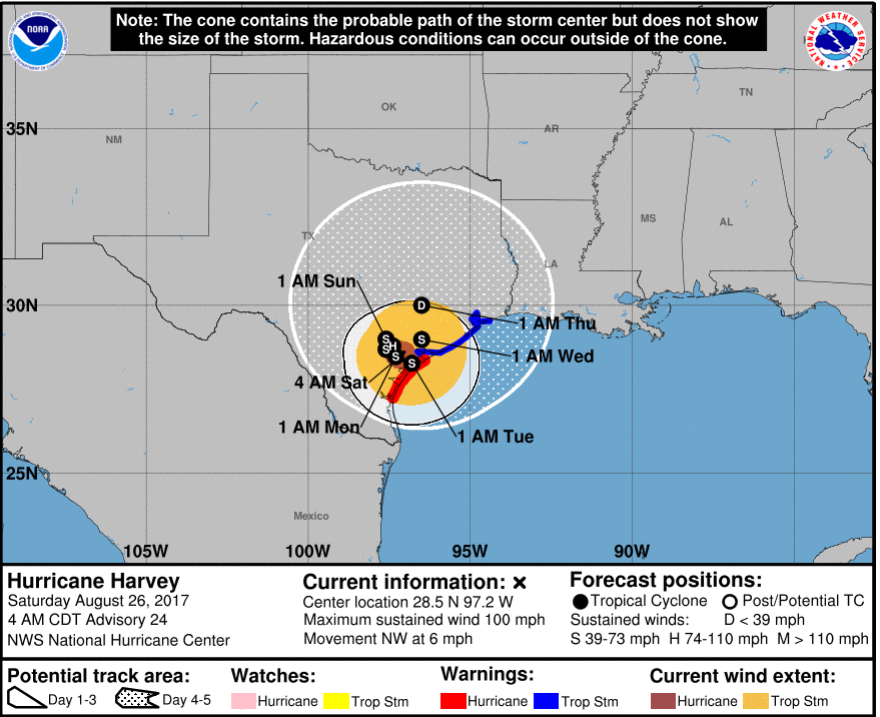 Harvey is expected to linger for the next few days, dropping significant rainfall over Texas.