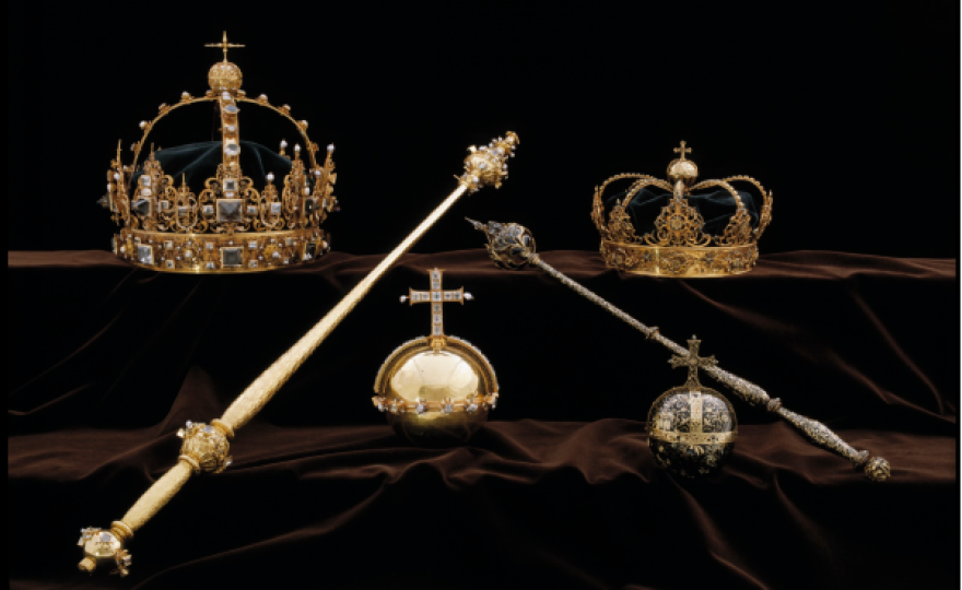 Three 17th-century Swedish royal treasures — the crowns of Karl IX and Kristina (upper left and right) and an orb (center) — were stolen on Tuesday in the daring daytime heist.