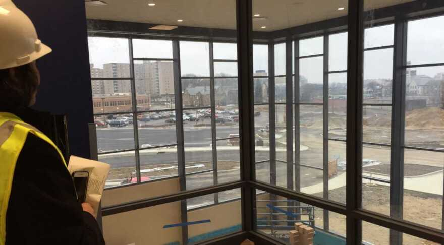 View from second floor of new Stark State Akron main campus building