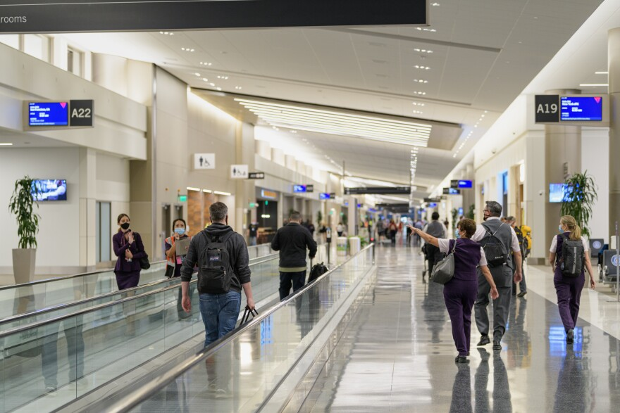 A photo of Concourse A at the Salt Lake International Airport.
