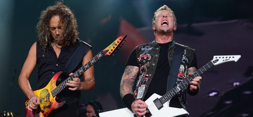Kirk Hammett (left) and James Hetfield of Metallica perform during the 2013 Orion Music + More Festival at Belle Isle Park on June 9, 2013 in Detroit, Michigan.