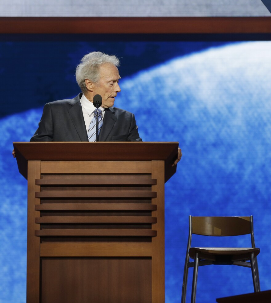 Actor and director Clint Eastwood addresses an empty chair at the 2012 Republican National Convention in Tampa, Fla., a peculiar, rambling conversation with an imaginary President Barack Obama that delayed programming to help promote GOP nominee Mitt Romney.
