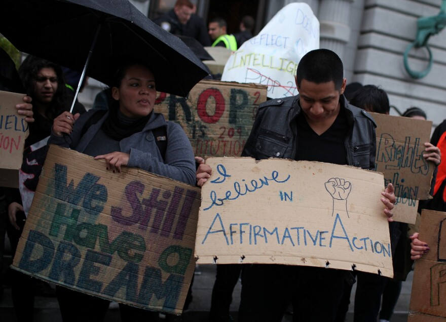 Students hoping for a repeal of California's ban on affirmative action in college admissions protest outside of the 9th U.S. Circuit Court of Appeals in San Francisco on Feb. 13. The Supreme Court will decide an affirmative action case next fall that could affect college admissions policies across the country.