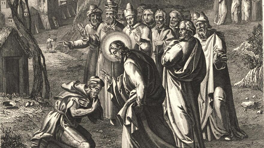 A woodcut from the 1800s, <em>Healing the Lepers</em>, depicts the common tableau of Jesus healing a leper as his disciples look on.