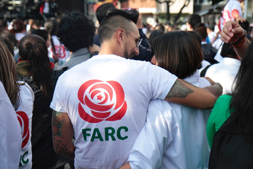 As the FARC enters politics, its now disarmed Marxist militants have taken on a more moderate tone. Their logo, which used to bear two rifles, now has a red rose, a symbol used by some social democratic parties in Europe and the U.S.