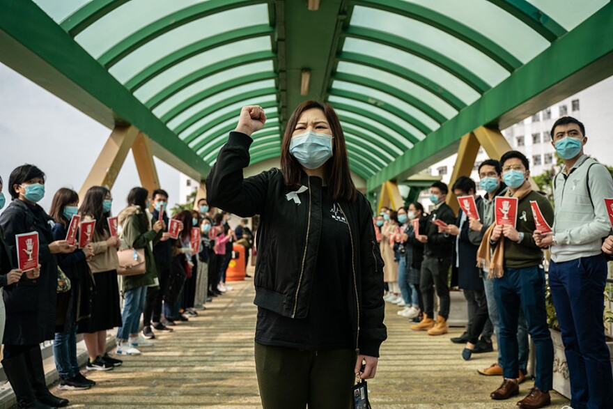 Medical workers hold a strike near Queen Mary Hospital to demand the government shut the city's border with China to reduce the spread of the coronavirus on February 3, 2020 in Hong Kong, China. (Anthony Kwan/Getty Images)