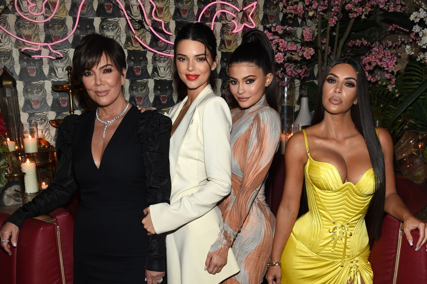 """Left to right, Kris Jenner, Kendall Jenner, Kylie Jenner and Kim Kardashian attend a dinner hosted by The Business of Fashion to celebrate its latest special print edition """"The Age of Influence"""" at Peachy's/Chinese Tuxedo on May 8, 2018 in New York City. (Dimitrios Kambouris/Getty Images for The Business of Fashion)"""