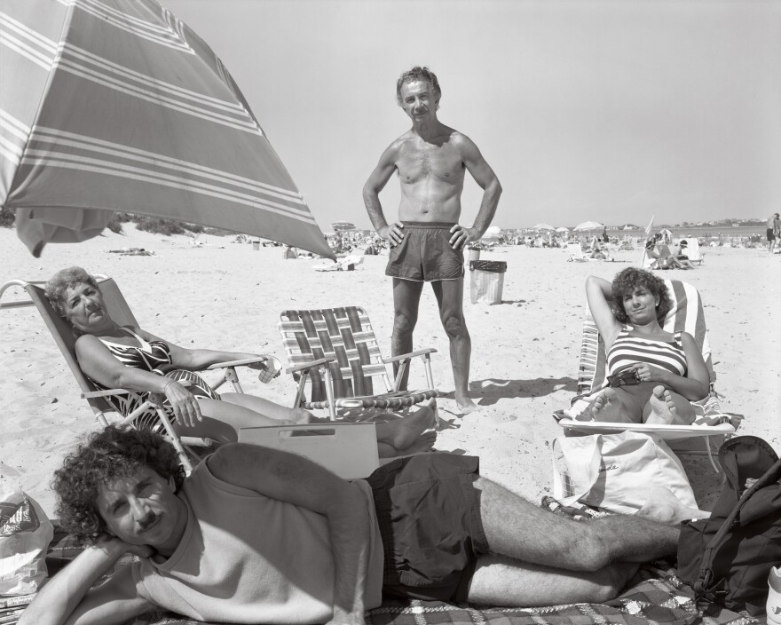 Gene DiRado (top) with his wife Rose, son Gene, and daughter Gina, in Hampton Beach, N.H., Aug. 17, 1989.