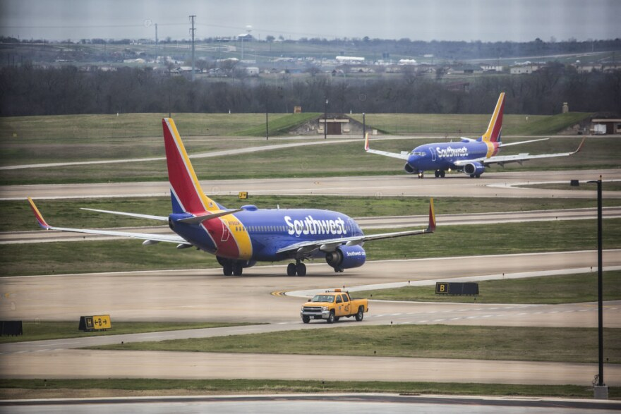 Southwest Airlines planes on the tarmac at Austin-Bergstrom International Airport.