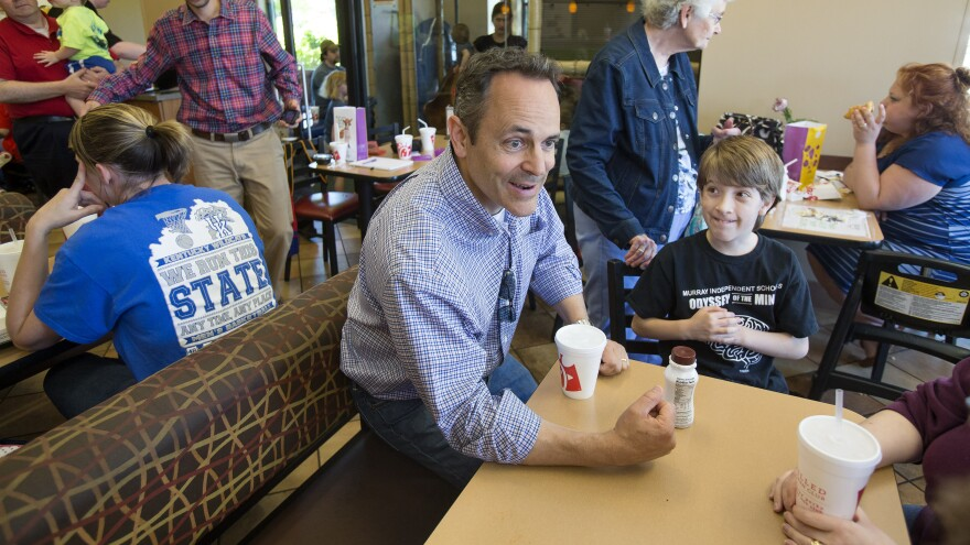 Kentucky Republican Gov.-elect Matt Bevin campaigns at a Louisville Chick-fil-A in May.