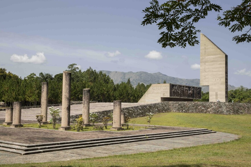 A monument to Dominican Restoration War stands not far from Loma de Cabrera, Dominican Republic.