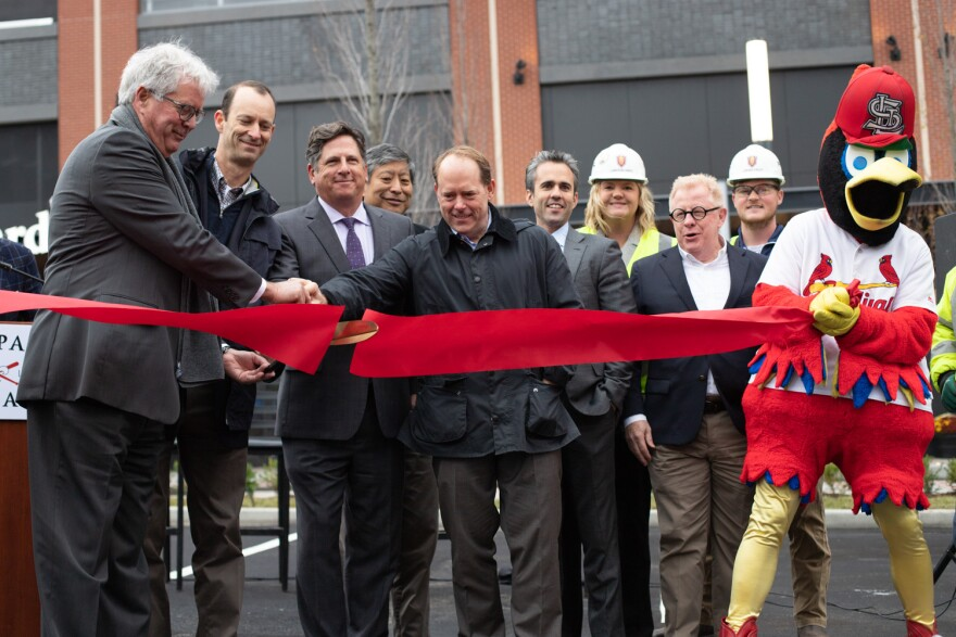 Cardinals team president Bill DeWitt III and other Ballpark Village representatives officially open PwC Pennant Building in downtown St. Louis. 11/06/19
