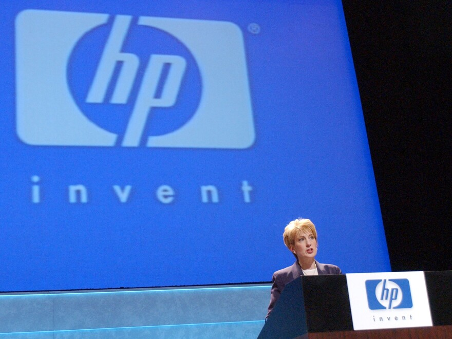 Then-Hewlett Packard CEO Carly Fiorina speaks after HP shareholders voted about whether to merge with Compaq Computer on March 19, 2002, in Cupertino, Calif.
