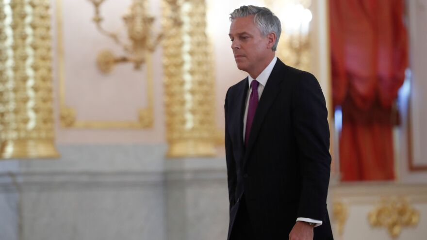 Former Utah Gov. and U.S. Ambassador to Russia Jon Huntsman walks at the Kremlin in Moscow in 2017. He's trying to win back the governorship.