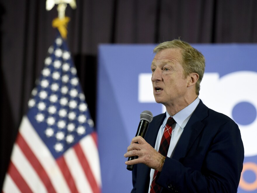 Steyer speaks at a town hall campaign event on Wednesday in Georgetown, S.C.