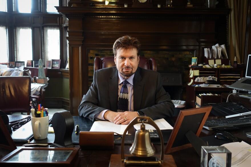 Steve McCaffrey in his office.