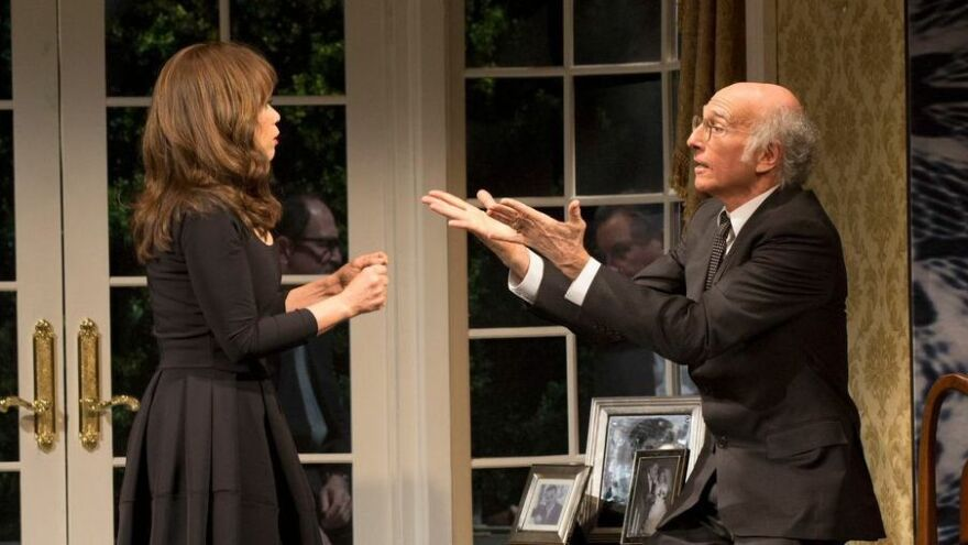 Rosie Perez plays Fabiana Melendez and Larry David plays Norman Drexel in the new Broadway play<em> Fish in the Dark.</em>