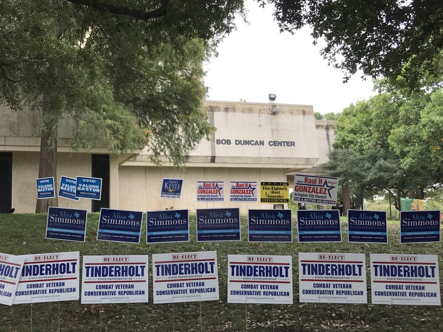 Political signs for Tony Tonderholt and Alisa Simmons, opponents in Texas House district 94.