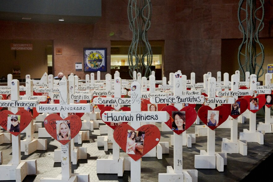 Each of the 58 people killed in the attack is honored with a cross inside the Clark County Government Center in Las Vegas on Sept. 28, 2018. It was the deadliest mass shooting in modern U.S. history.