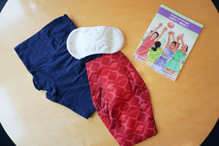 (Jan. 24, 2019) Various reusable pads Dignity Period distributes to those who don't have access to menstrual hygiene products.