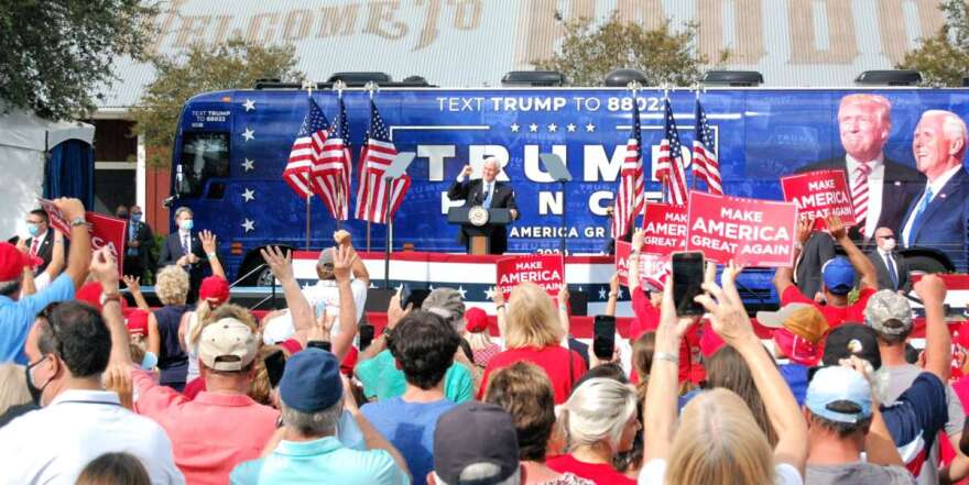 Vice President Mike Pence spoke at an open-air rally in The Villages on Saturday. Photo: Joe Byrnes